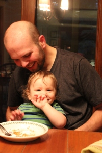 eating cake with Uncle Nate