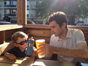 toasting to Cadel on his second birthday